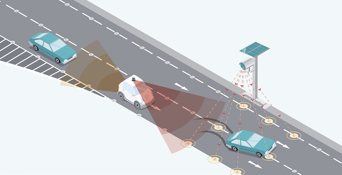 Figure 4 Smart connected road studs detect passing vehicles, communicate with both connected vehicles and a control box, and give visual signals to drivers